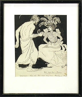 """Bilden föreställer en """"fin"""" dam som blir serverad av en sowsigt klädd man i romerska sandaler. Text: """"Det nya året i Paris"""". etc. Signerad. Påsatt en gammal ram 19970618."""