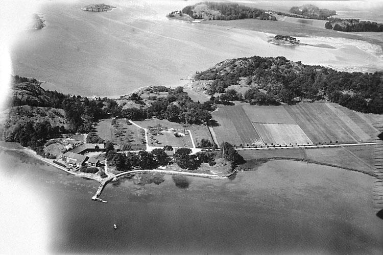Flygbild över Sörviks herrgård på 1930-talet