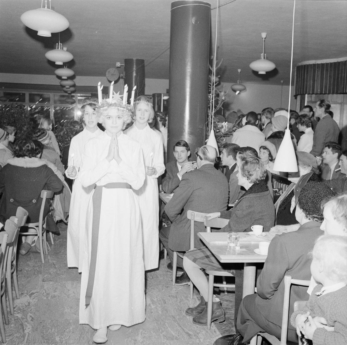"""""""Forums lucia frk. Anita Åsberg gladde gästerna i den fullsatta restaurangen"""", Uppsala 1959"""