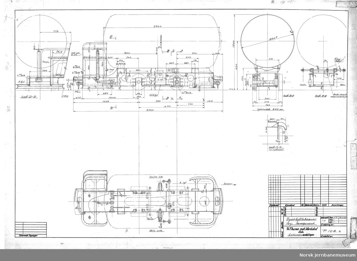 Trykkluftlokomotiv - Hovedarrangement  2 tegninger utkast samt endelig versjon Sporvidde 600 mm. Levert fire stk til Sulitjelma Gruber i 1945 med Levahn som underleverandør