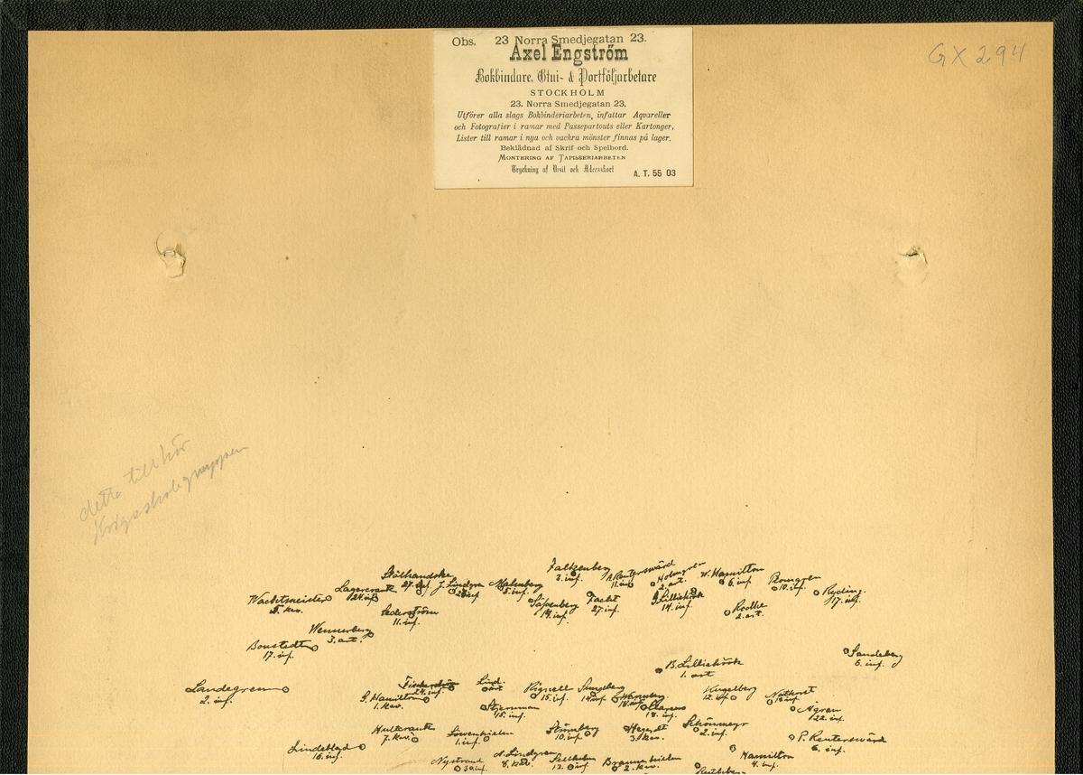 Grupporträtt av utexaminerade elever från krigsskolan 1891. För namn, se bild nr. 3.