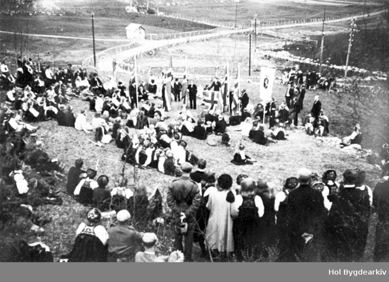 17. mai 1945, stemneplass, forsamling, flagg, Høgehaug, fane, frigjering
