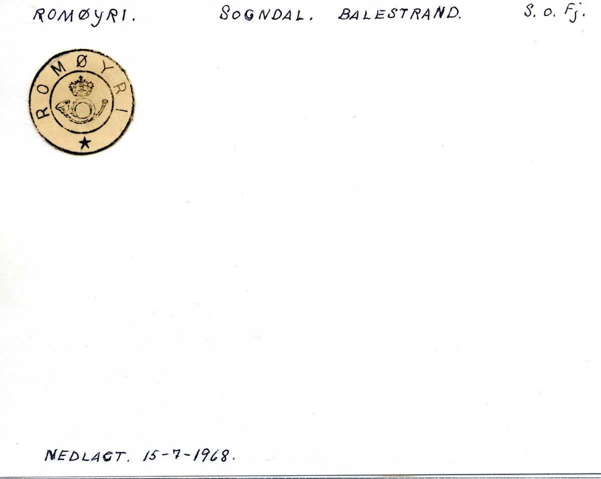 Stempelkatalog Romøyri, Balestrand, Sogn og Fjordane