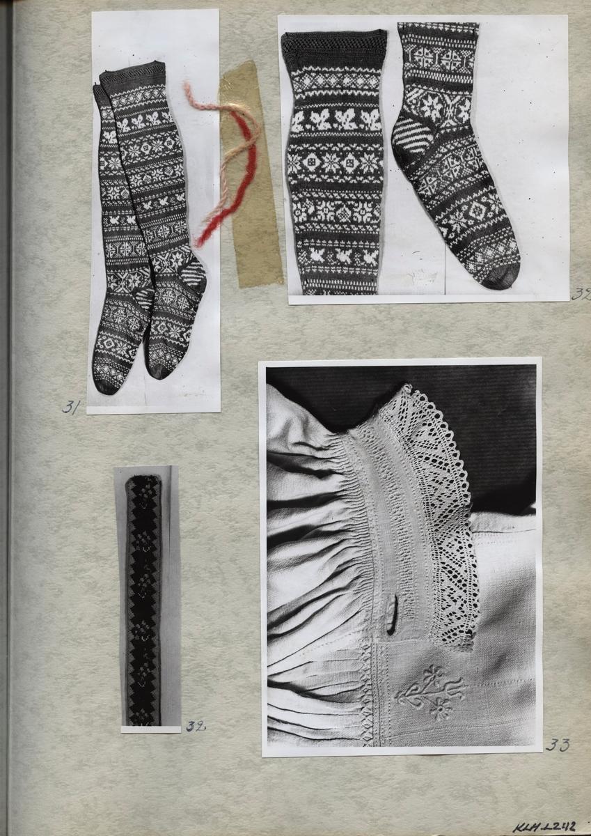 Kartongark med fyra fotografier av brudgumsstrumpor, detalj av hängsle och skjorta.