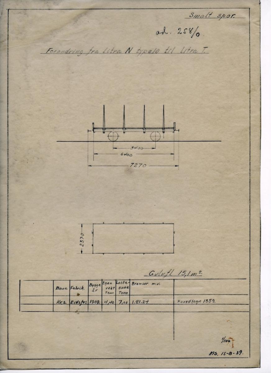 Håndtegnet med blyant på kalkerpapir tegning som viser ombygging av flatvogn bygget ved Eidsfos Verk (1902). Ombygging fra litra N 10 til T i 1939. Ad. 258/0