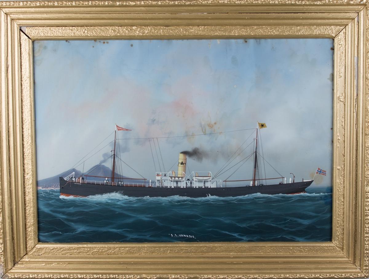 Skipsportrett av DS VANADIS for full fart i Nepalbukten med vulkanen Vesuv seende i bakgrunn. Fører vimpel med skipets navn i formast, rederiflagg i aktermast og norsk flagg akter.