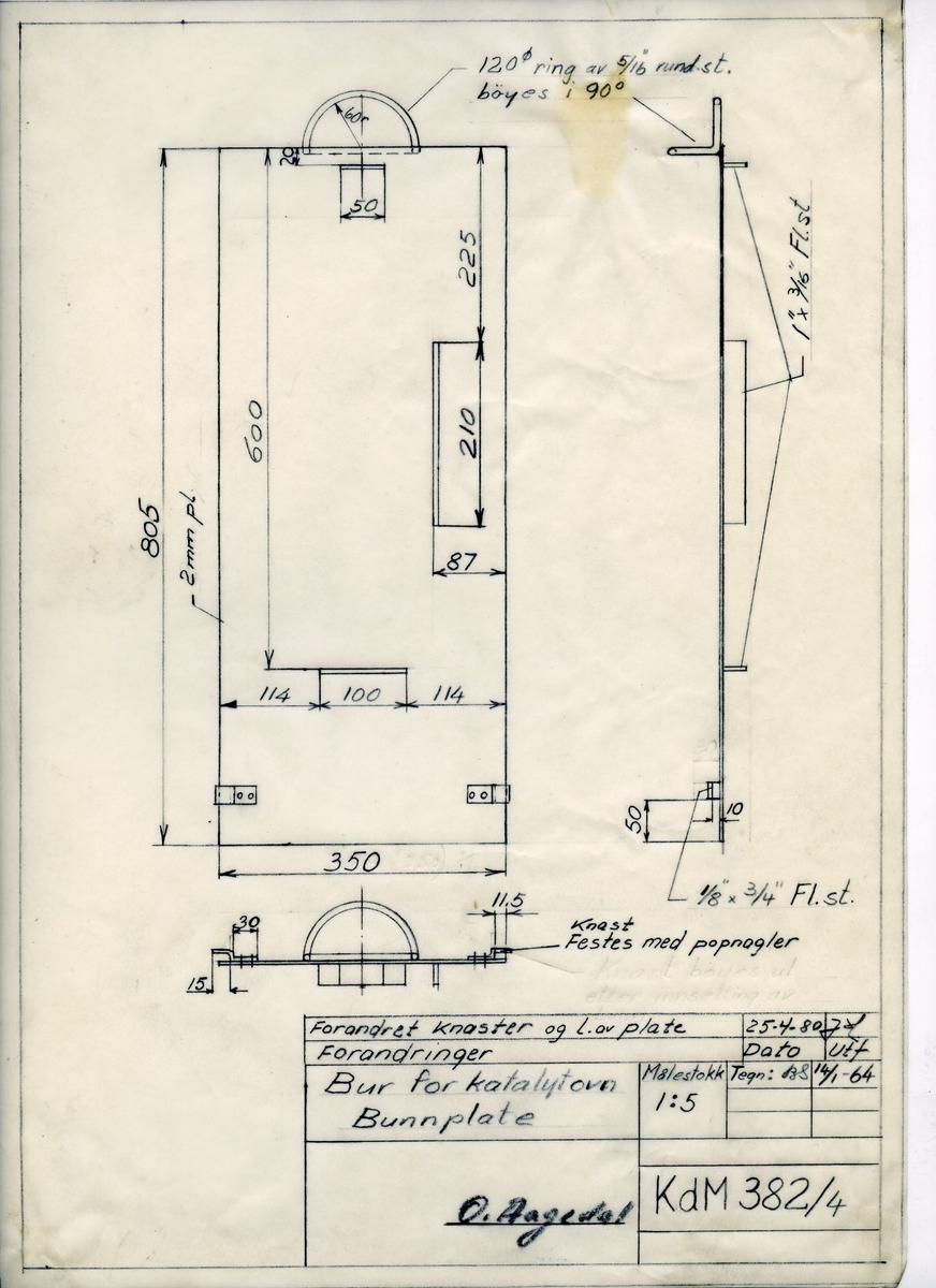 Håndtegnet arbeidstegning til forandringer av bunnplate til bur for katalytovn, Utarbeidet på Krossen i 1964. Endret i 1980. Tegningsnummer KdM 382/4