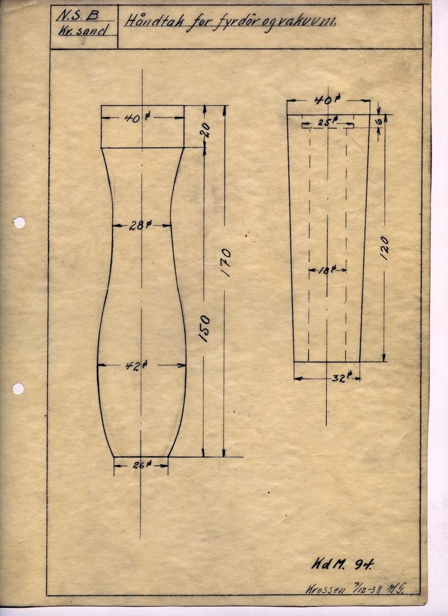 Håndtegnet arbeidstegning til håndtak for fyrdør og vakuum. Opprinnelig tegningsnummer KdM 94. Utarbeidet ved Krossen i 1938.