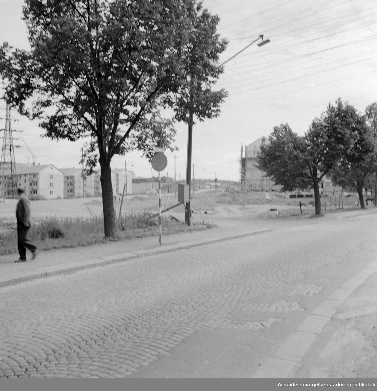 Trondheimsveien ved Aker sykehus. Juli 1955