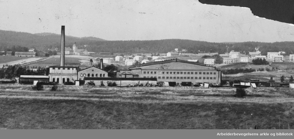 Nyland, det store NSB jernbaneverksted på Furuset, 1953.