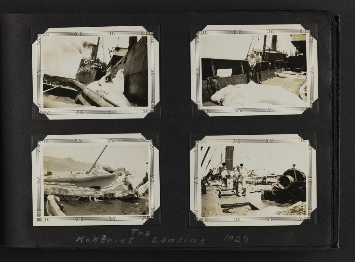 """Fire bider """"Fra kokeriet Lansing, 1929""""."""