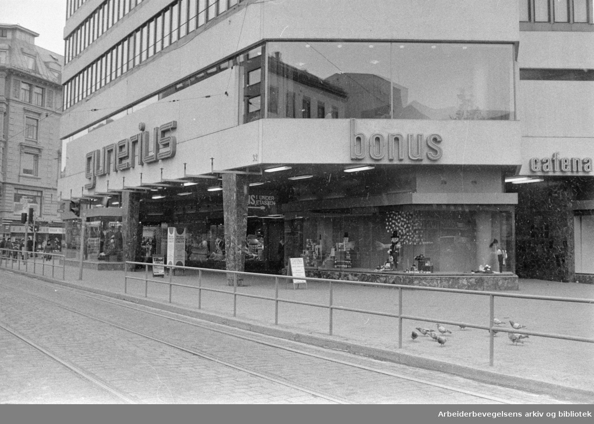 Storgata: Gunerius-hjørnet. Mars 1974