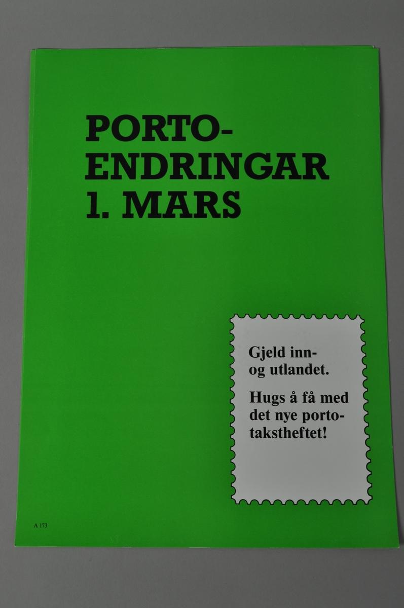 Rektangulær plakat med tekst på grønn bakgrunn.