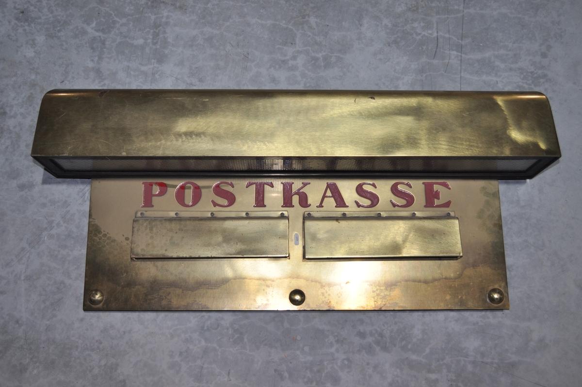 Postinnkast for veggmontering. 2 stk åpninger og lys.