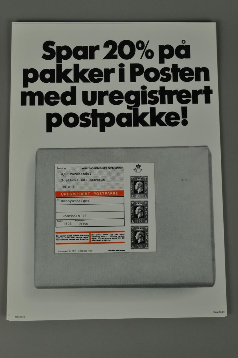 Informasjon fra Posten om uregistrerte pakker i Posten. Spar 20 %.