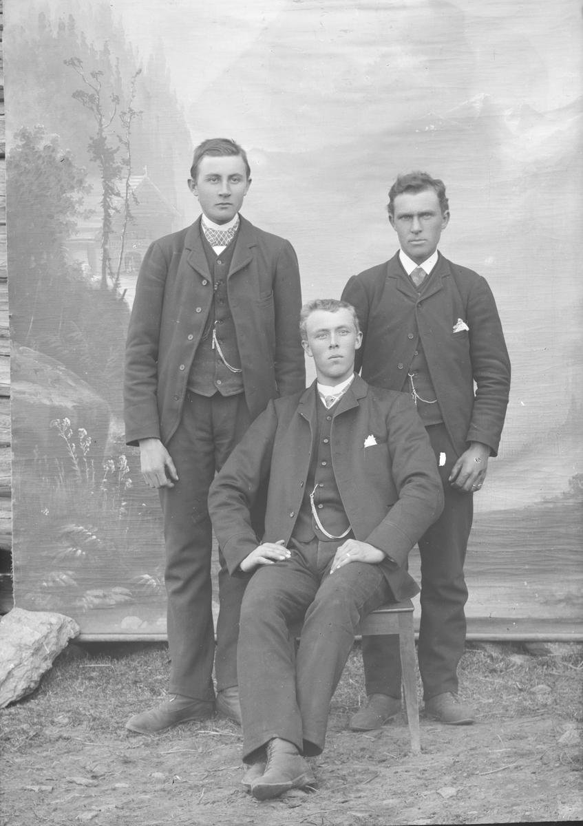 Gruppebilde, tre menn,  Petter Rønningslåen sitter foran.