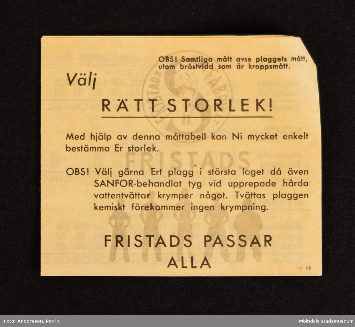 Häfte: Välj RÄTT STORLEK! Ett häfte följer med varje plagg man köper från Fristads.