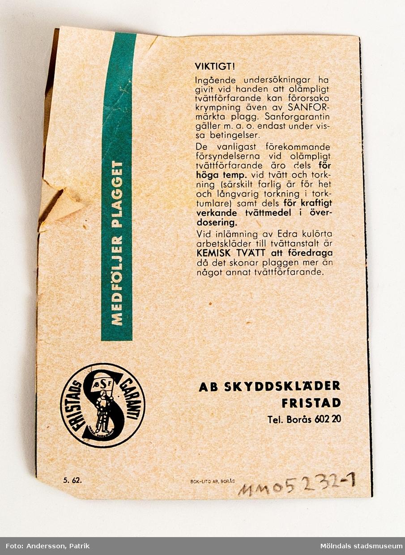 Häfte: FRISTADS TVÄTT RÅD FÖR ARBETSKLÄDER. Ett häfte följer med varje plagg man köper från Fristads.