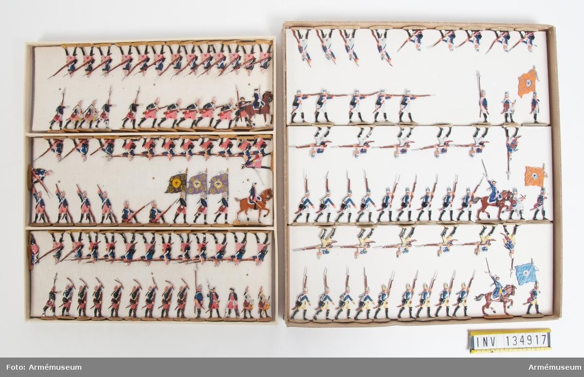 Fysiljärer från Preussen från sjuåriga kriget. Två lådor med infanteri i strid. Fabriksmålade.