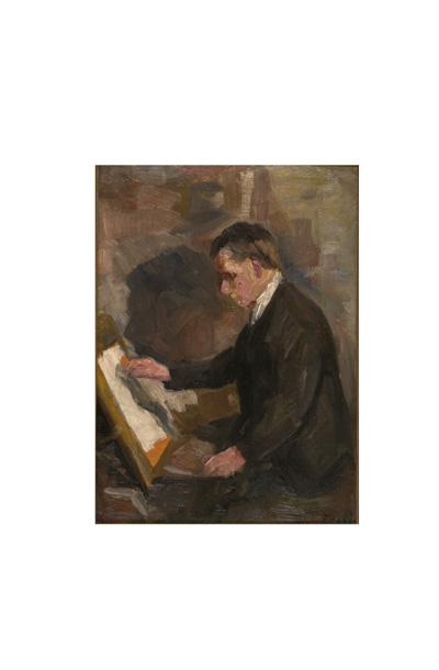 Mann ved staffeli [Maleri]