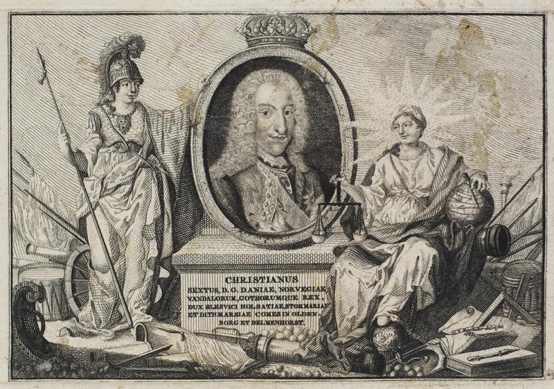 Portrett av Christian 6. på pilar med latinsk inskripsjon og flankert av klassiske figurer.