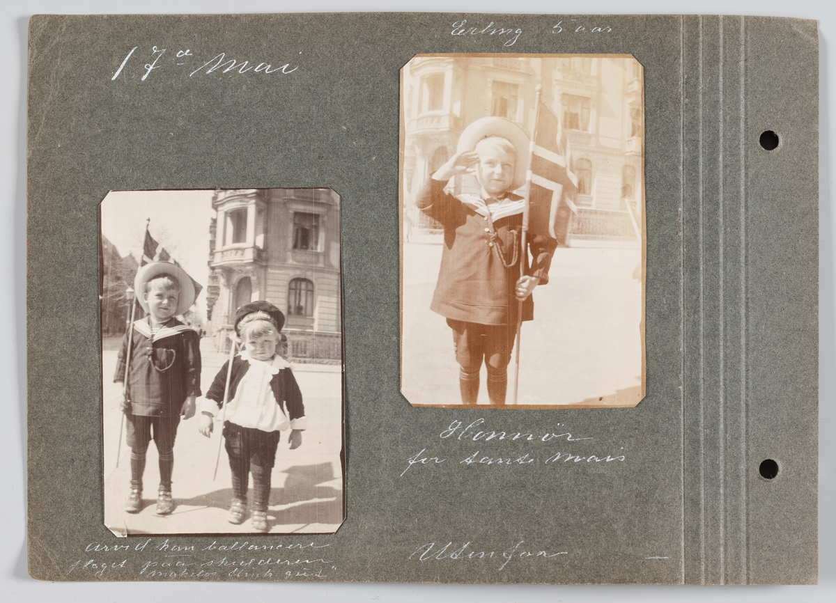 Bilde til venstre: Erling og Arvid Michelsen 17.mai 1918, Bygdøy allé, Oslo. Bilde til høyre; Erling Michelsen samme sted.