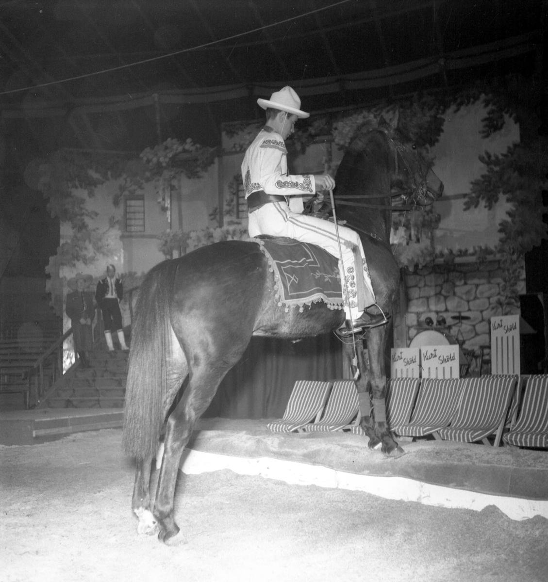 Furuviksparken invigdes 1936  1950 var ett år då Furuviksparken investerade kraftigt.  Cirkus Cowboy på häst