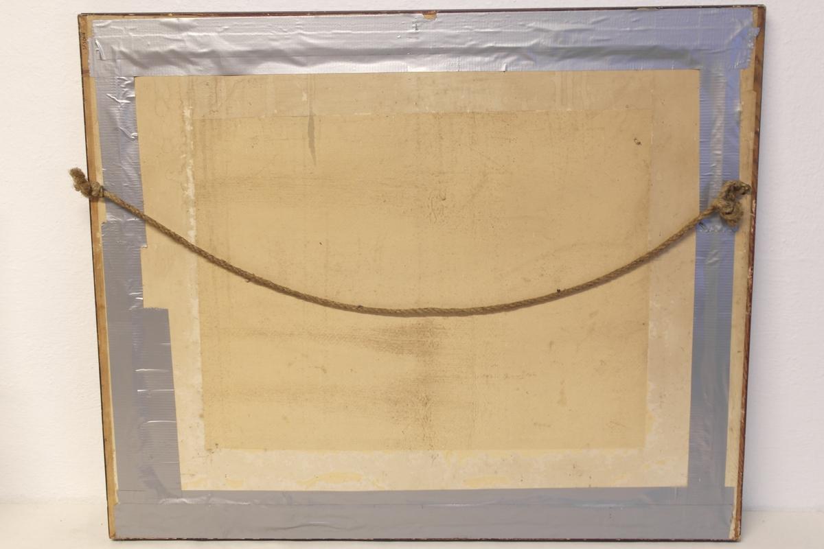 """Blyanttegning i glass og ramme. Tegningen er laget etter en kopi av maleriet """"Den lilles siste seng"""" av Amalia Lindegren. Rammen er i beiset og lakket tre. Den er rødbrun med forgyllet innerkant. Oppheng av to små jernringer og kraftig tau."""