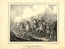 Konung Harald Hildetand faller i Bråvalla slag (år 740 e. Kr