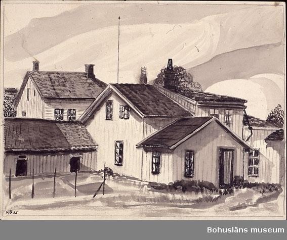 Montering: omonterad. Uppgifter om motivet som låg i Uddevalla, Bohuslän, och om konstnären se UM026000 Tidigare accessionsnummer UM73.03.002