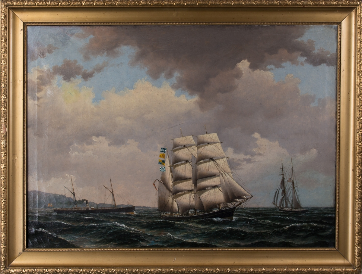 """Bark """"Bergliot"""" bygget 1875, reder P.A.Holm m. flere og d/s """"Anastasia"""" samt en ukjent norsk skonnerbrigg."""