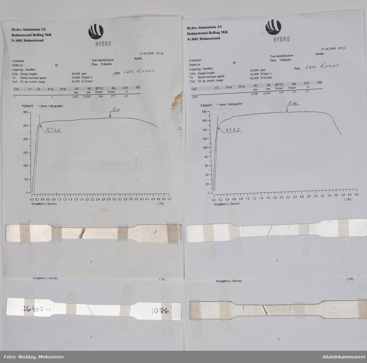 Ark med prøveresultat på aluminumlegering. Arket har påfestet en metallprøve. Arkene inneholder opplysninger fra testresultatene. Underskrevet av Lars Korsen