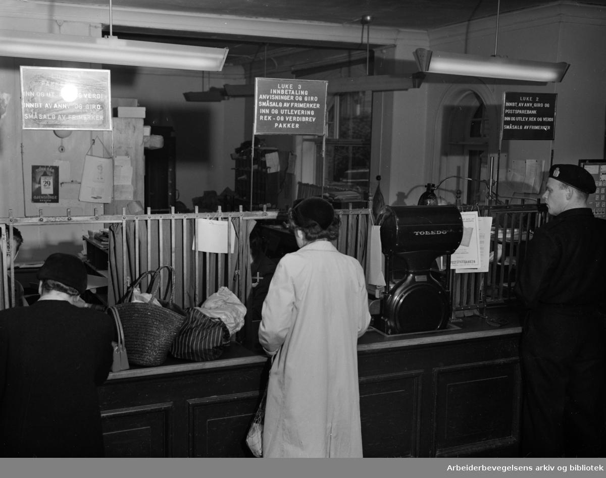 Majorstua, det nye posthuset. Interiører. Oktober 1954