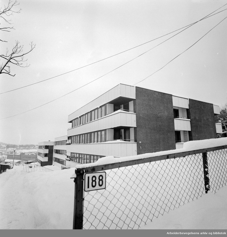 Kjelsåsveien nr. 188 hvor boligsameiet får en rettsak mot seg fordi de nektet en fremmedarbeider å kjøpe leilighet..Januar 1977.