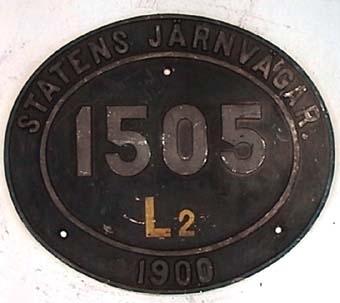 Skylt från ångloket HdSJ 5 Gudmundrå SJ HSc 1505 (1932), L2 1505 (1942) NOHAB Nº 608  Modell/Fabrikat/typ: Svart med gul text