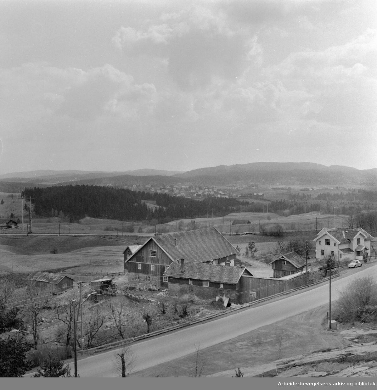 Fossum, Stovner. Nytt boligfelt. Mai 1960