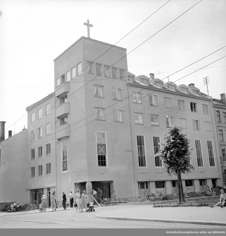 Emanuelkirken i Sarpsborggt. Immanuelkirken. Metodistkirken etter 2007. Juli 1955