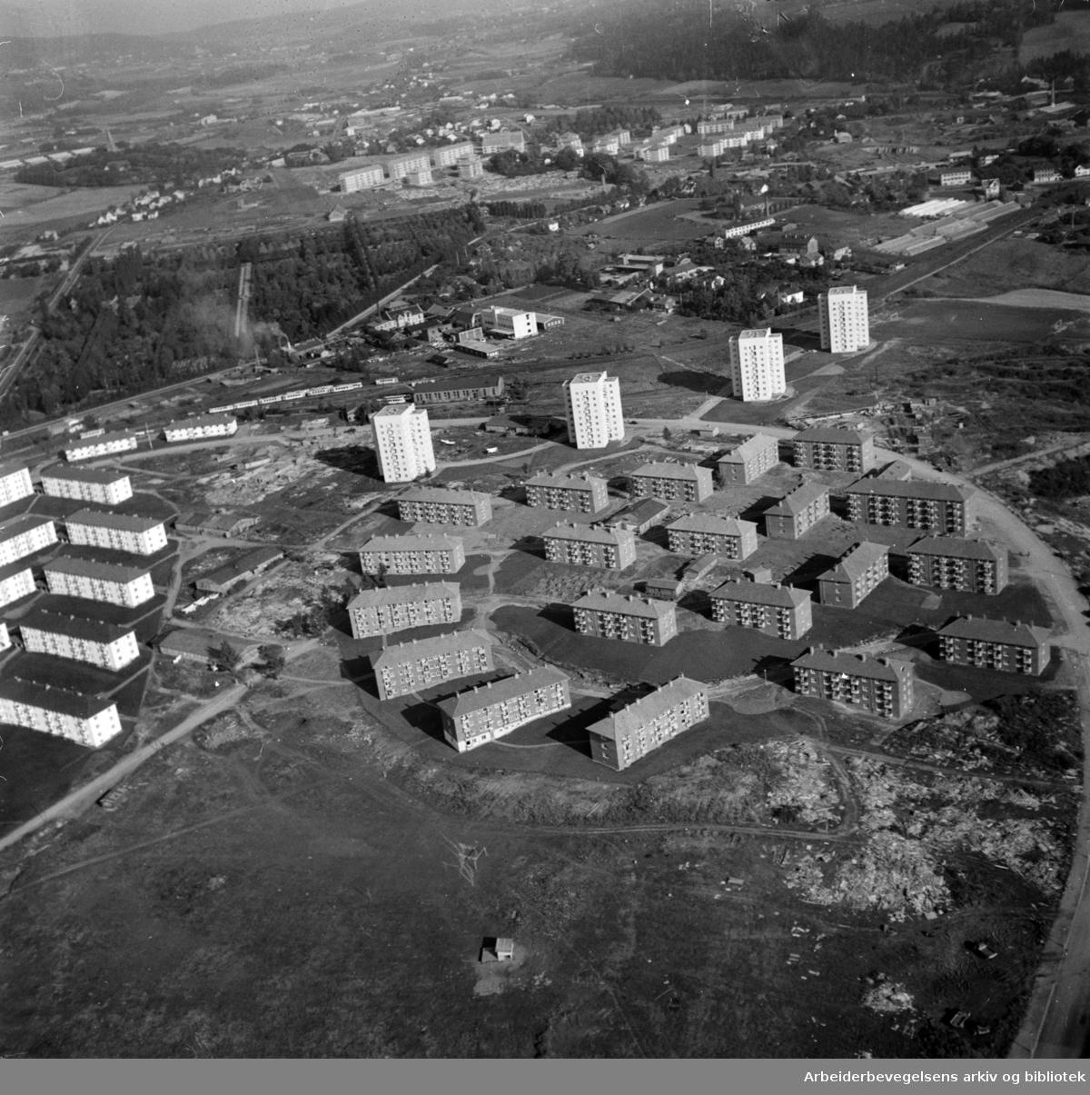 Etterstad. (Flyfoto). Mars 1955