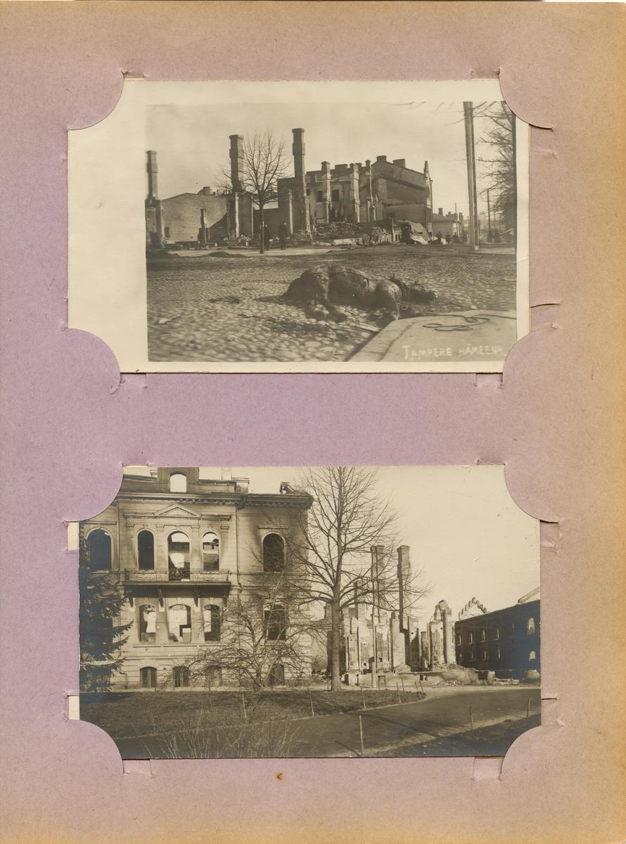 Bombskadade hus i Tammerfors.