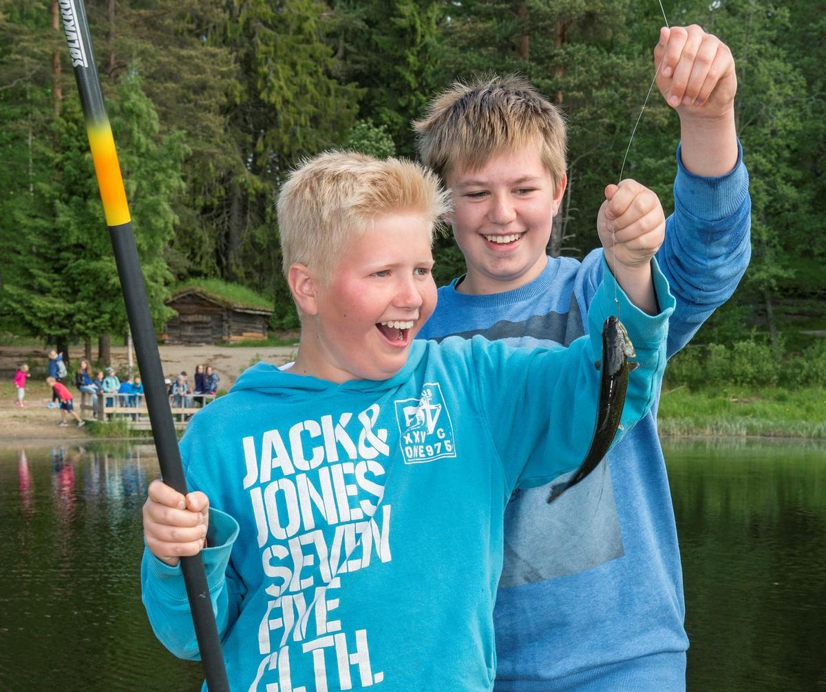 Fra arrangementet «Skog og vann» på Norsk Skogmuseum, som ble arrangert 7.-10. og 13.-14. juni 2016.  I løpet av disse seks dagene samlet dette formidlingsopplegget 2 800 skoleelever, de fleste i grunnskolealder.  «Skog og vann» har inngått i Norsk Skogmuseums årsprogram siden 1997.  Opplegget om lag 20 ulike aktivitetstilbud knyttet til museets tematikk.  Dette fotografiet er tatt ved museets fiskedam på Prestøya, der to gutter gledet seg over å ha fanget en ørret under meitefiske.