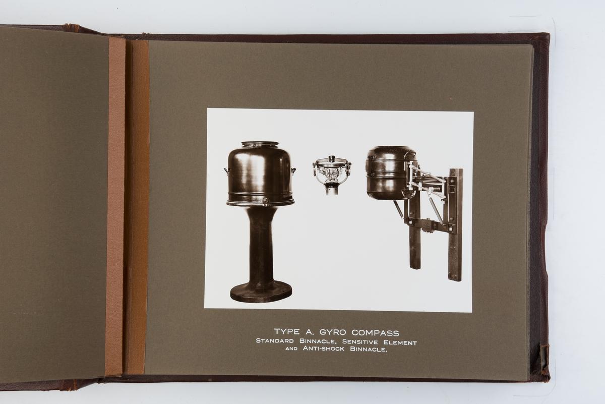 Album med fotografier av gyrokompass og navigasjonsinstrumenter.