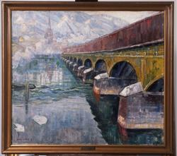 Den gamle bybroen i Drammen [Maleri]