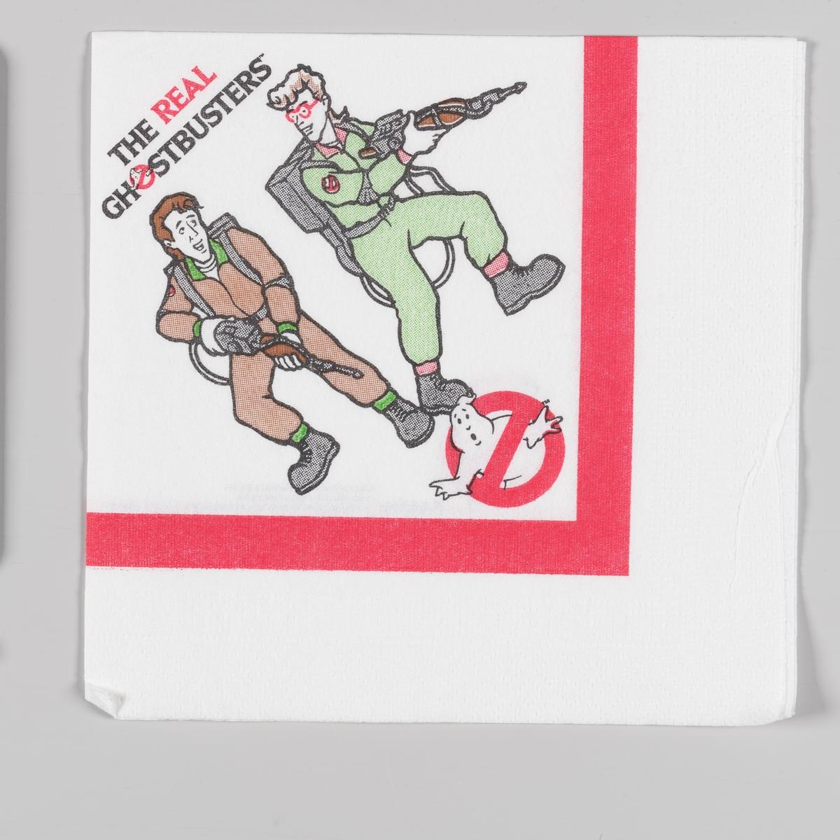 To menn i kjeledress er på jakt etter spøkelser med utstyr for spøkelsesjakt. Ghostbuster logo i form av et spøkelse i et forbudt skilt.  Ghostbuster filmene var gigantiske kinosukseer i 1980-årene. Filmene utkom i 1984 og 1989. I tilknytning til filmene utkom en sang Ghostbusters og flere tegneserieoppfølgninger og salg av produkter med ghostbuster logo.