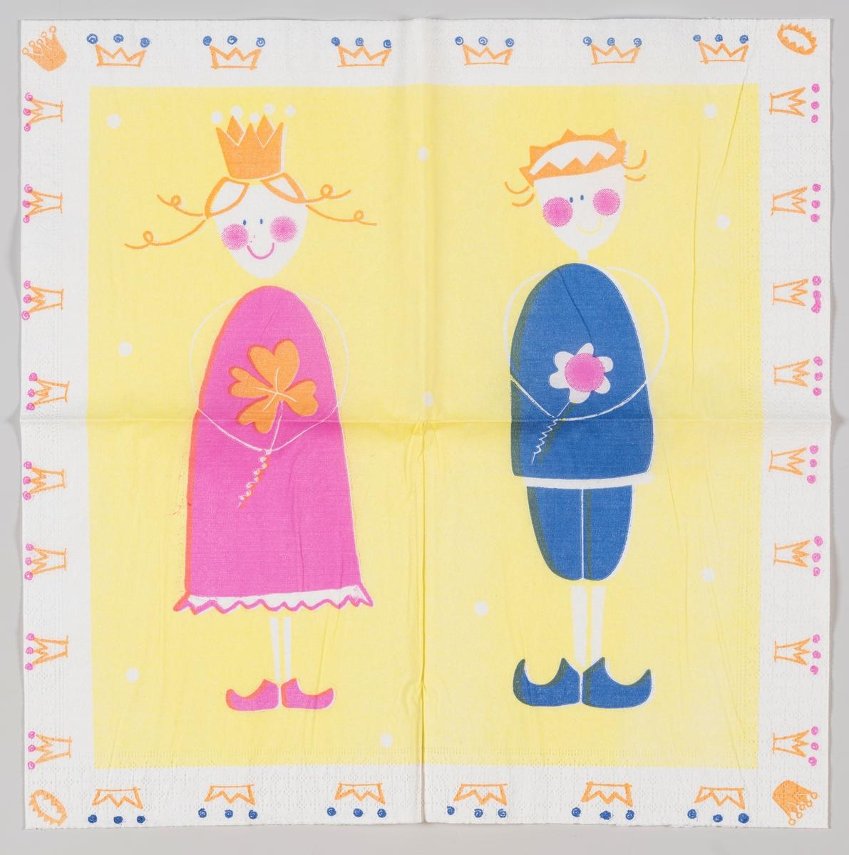 En prins i blått og en prinsesse i rosa og begge med krone. Kroner langs kanten.