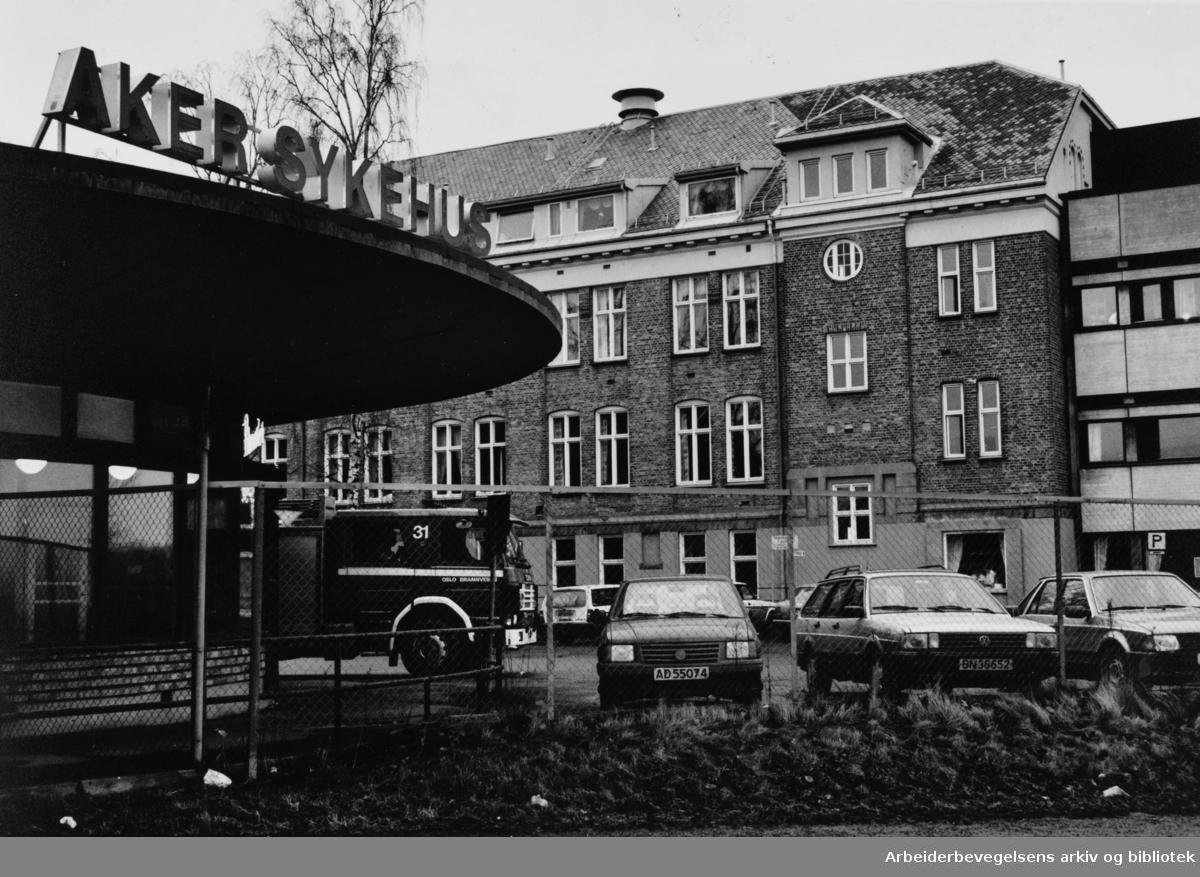 Aker sykehus. Februar 1992