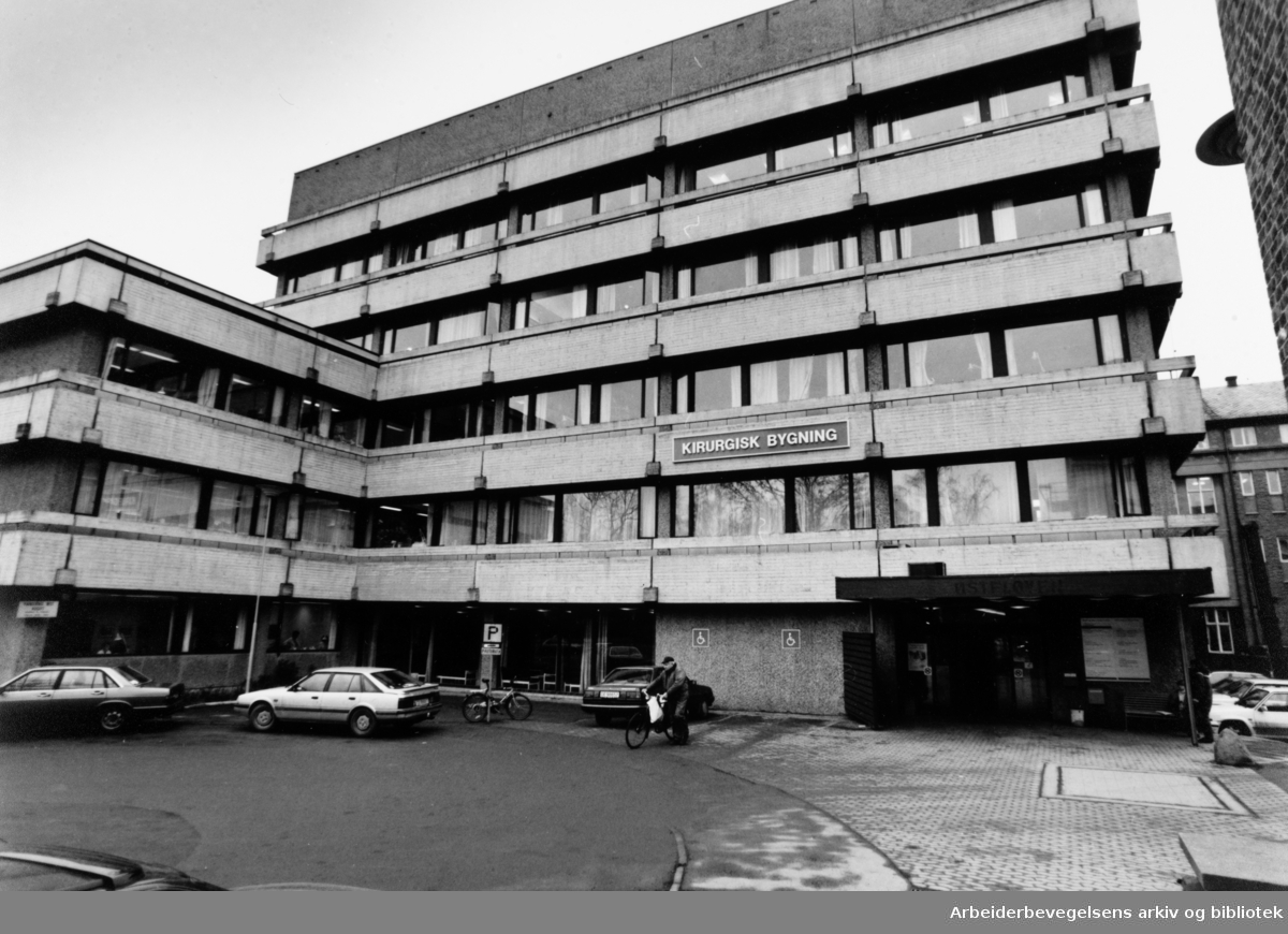 Aker sykehus. Kirurgisk avdeling. Eksteriør. Februar 1992