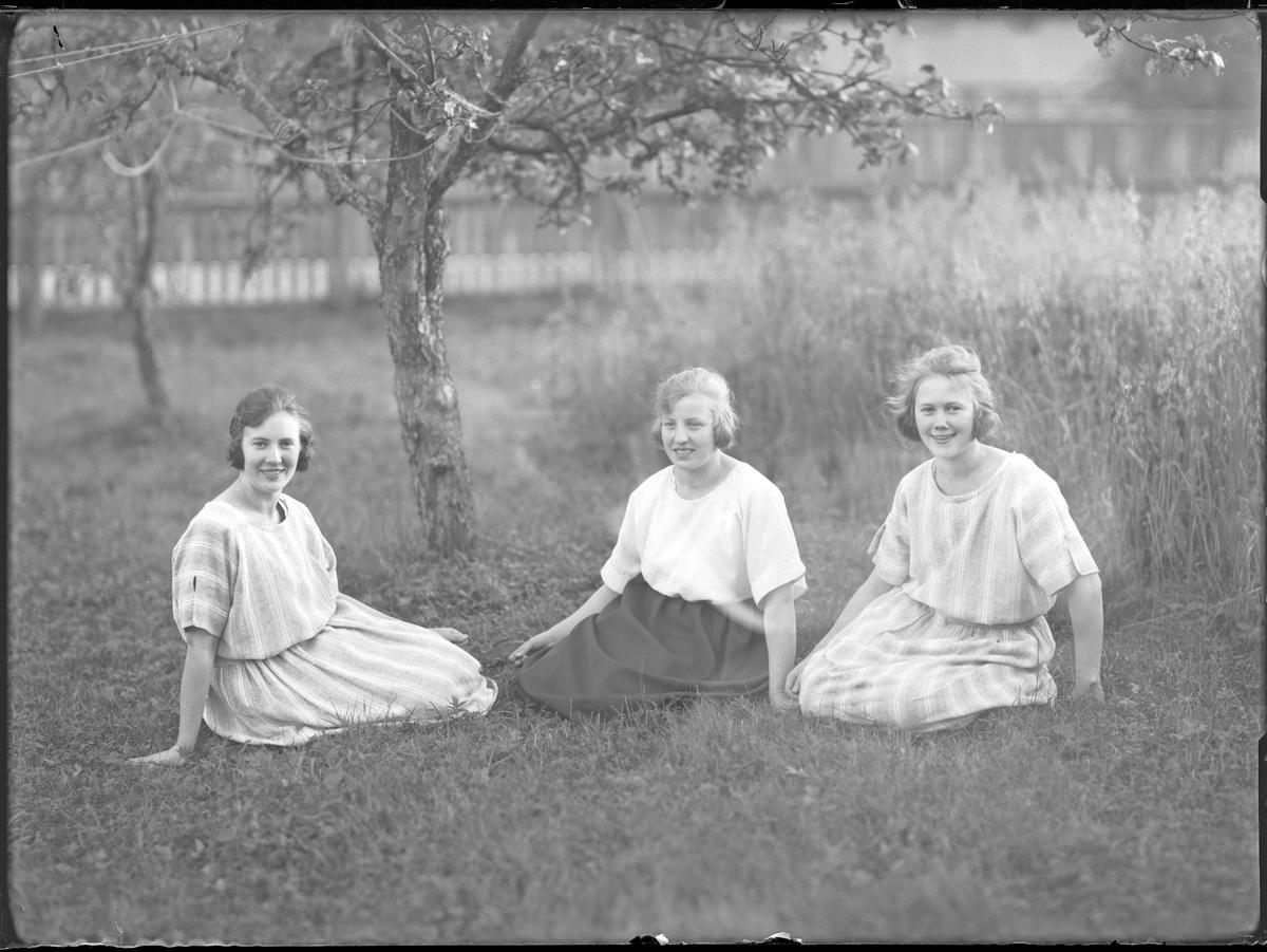 Lisa, Agnes och Lilly sitter i gräset under ett träd.