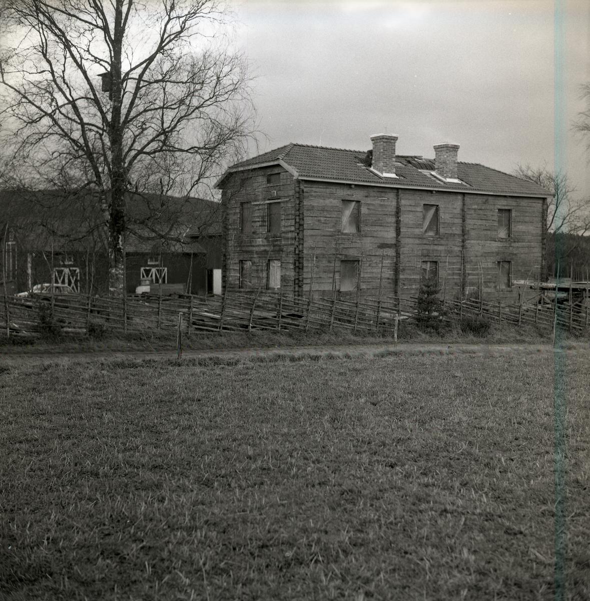 En gård med ett bostadshus och träd innanför gärdesgården.