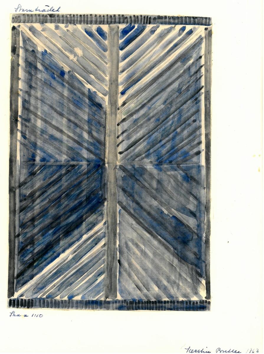 """Skiss till rölakansmatta """"Stamträdet"""" Formgivare: Kerstin Butler 1963"""