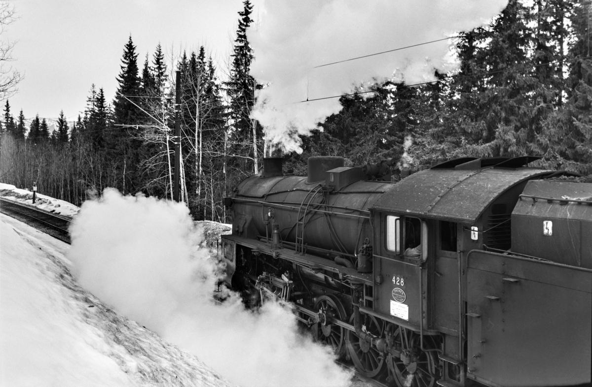 Damplokomotiv type 31b nr. 428 ved km 246,7 melllom Hol og Geilo.